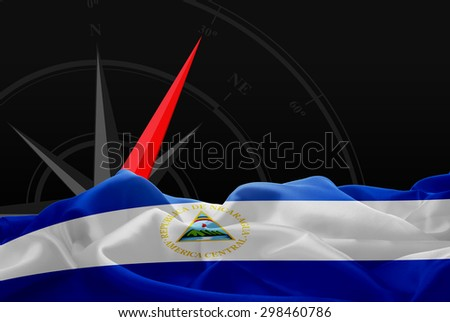 Nicaragua High Resolution flag and Navigation compass in background