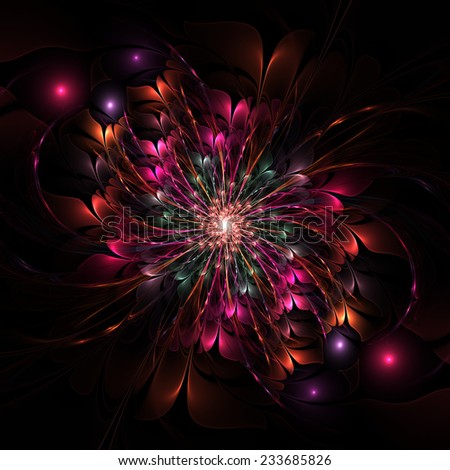 Nice abstract fractal flower on black background - stock photo
