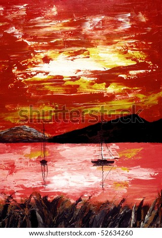 Nice abstract image of a boat in harbor oil On Canvas - stock photo