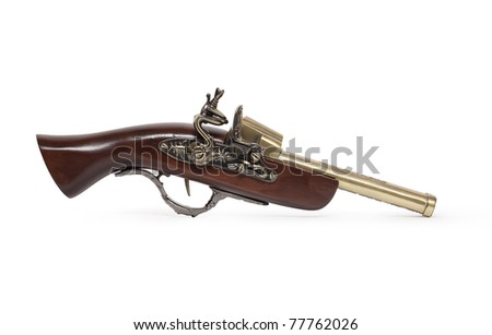 Nice ancient pistol isolated on white background with clipping path