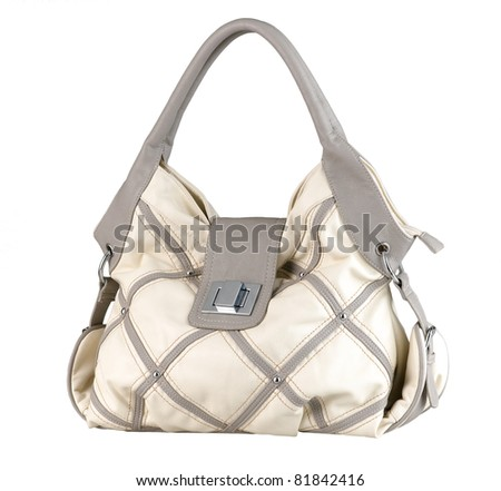 Nice and beautiful leather lady handbag - stock photo
