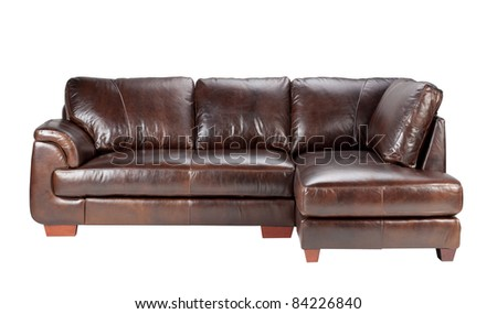 Nice and comfortable luxury genuine leather conner style sofa, an image isolated on white   - stock photo