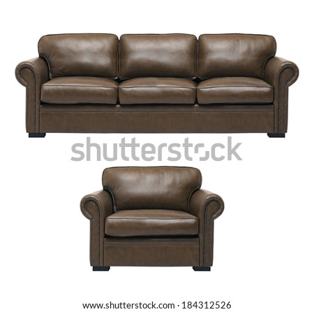 Nice and luxury leather sofa - stock photo
