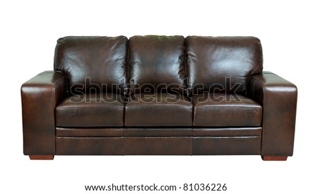 Nice and luxury leather sofa the great leather furniture - stock photo