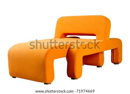 Nice and modern design orange color armchair an image isolated on white - stock photo
