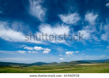 Nice and strange sky with white clouds - stock photo