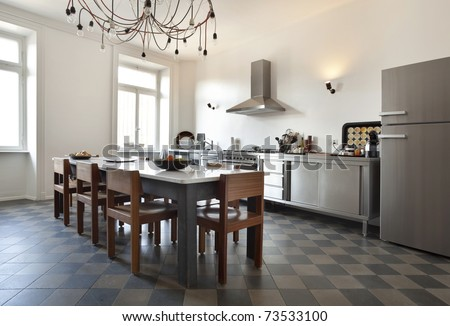 nice apartment refitted, kitchen view retro furniture - stock photo