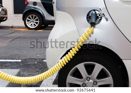 NICE - APRIL 29: Electric cars at a charging station in the French city of Nice on April, 29 2011, in Nice France. - stock photo