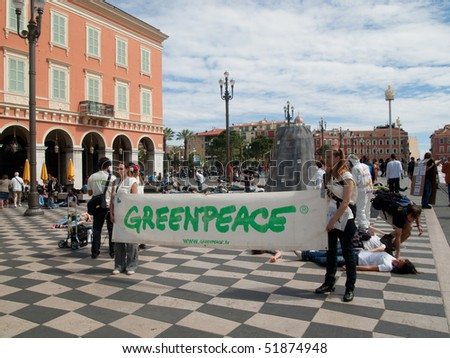 NICE - APRIL 26:  Greenpeace activist poses during a 'Chernobyl day' demonstration ahead of the anniversary of Chernobyl nuclear accident april 26, 2010  in Nice, southeastern France - stock photo