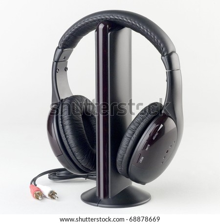 Nice audio and headphone set for relaxing and education isolated