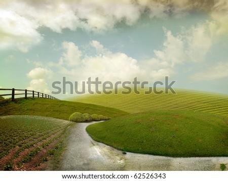 Nice autum landscape for background - stock photo