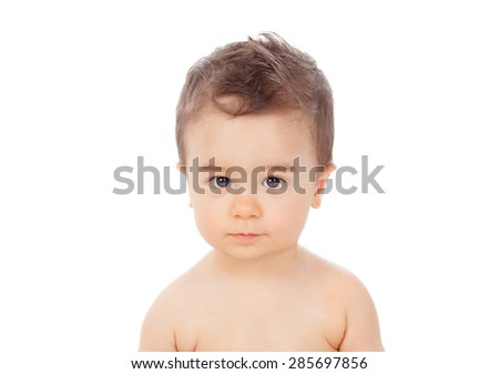 Nice baby looking at camera isolated on a white background