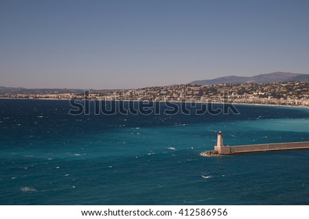 Nice, baie des Anges, windy, daylight  - stock photo