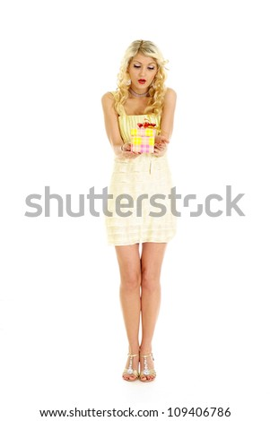 Nice blonde with a bright appearance on a white background