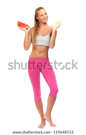 nice blonde woman with fruits isolated on white - stock photo