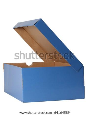 nice blue cardboard shoe box, isolated on white background - stock photo