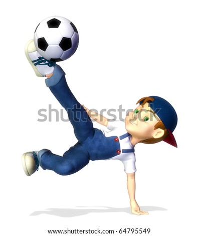 nice boy cartoon footballer hook or volley - stock photo
