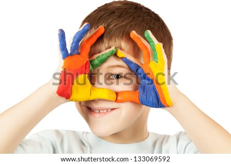 nice boy with stained coloured hand. isolated - stock photo