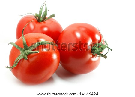 Nice bright tomatoes isolated on white - stock photo