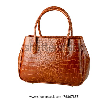 Nice brown crocodile leather woman handbag isolated - stock photo