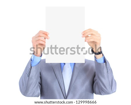 Nice businessman holds white poster. Isolated on a white background.