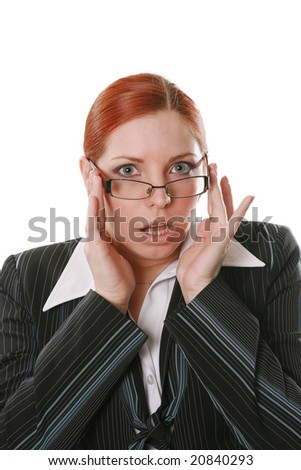 Nice businesswoman in glasses on a white background