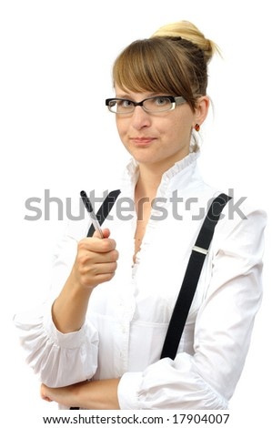 Nice businesswoman with pen, isolated on white - stock photo