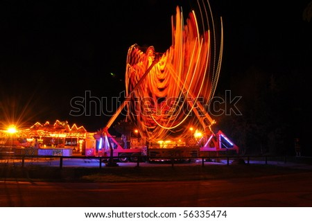 nice carousel at dark night - stock photo