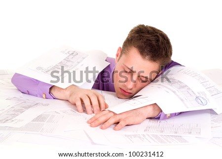 nice Caucasian Businessman very emotional in the papers on a light background - stock photo
