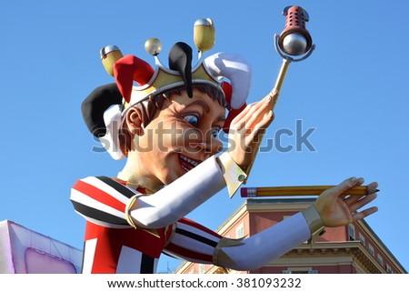 NICE CITY, FRANCE - FEBRUARY 23: King of carnival shown on february 23, 2016 in Nice, French riviera. The theme of Nice carnival, which takes place from 13/02 to 28/02/2016 is this year the media. - stock photo