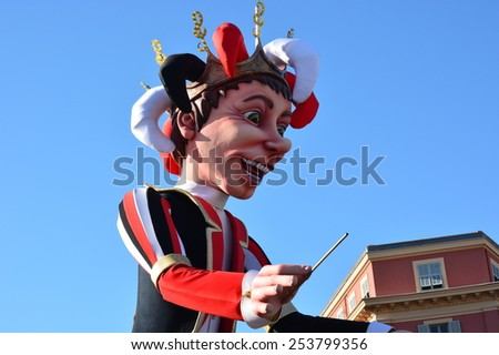 NICE CITY - FRANCE, FEBRUARY 18: King of carnival shown on february 18, 2015 in NICE, French Rviera. The theme of NICE carnival, which takes place from 13/02 to 01/03/2015, is this year the music. - stock photo