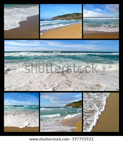 Nice collage of photos of waves on the beach - stock photo