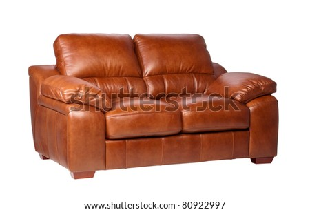 Nice  comfortable and luxury design of leather sofa - stock photo