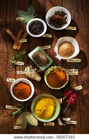 Nice composition of different spices with german labels
