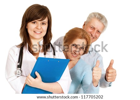 Nice couple came to the reception to the young doctor - stock photo