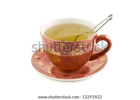 Nice Cup of tea isolated on white background - stock photo