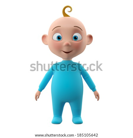 Nice 3d child, baby boy in blue pajamas, smiling happy toddler icon, beautiful tiny babies, cute symbol childhood, isolated on white background - stock photo
