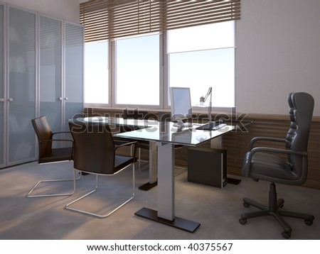 nice 3d office space interior - stock photo