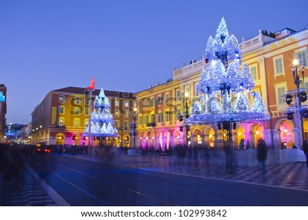 Nice decorated for Christmas, France - stock photo