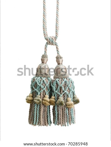 Nice design of tassel made of the smooth textile isolated on white - stock photo