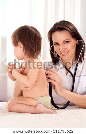 Nice doctor takes in his study a small patient