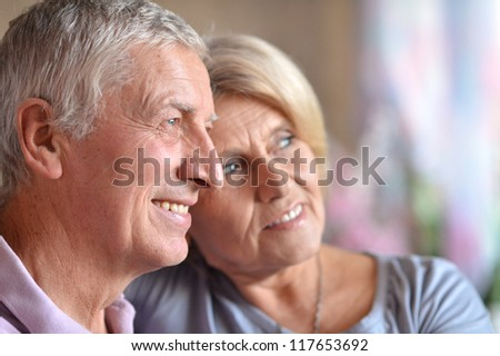 nice elderly couple posing in the room