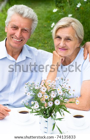 nice elderly couple together in a summer park