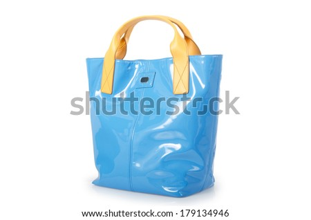 Nice elegant woman bag isolated on the white - stock photo