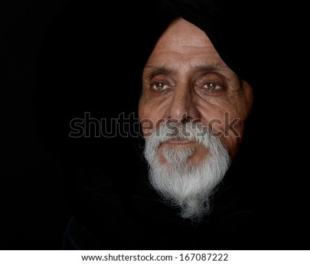 Nice Emotional Image of a senior man On Black