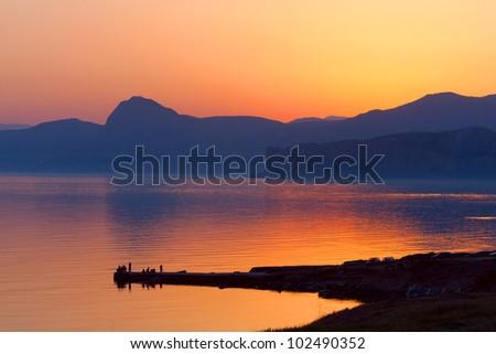 nice evening scene on sea - stock photo