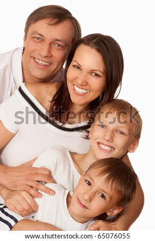 nice family of four on a light background