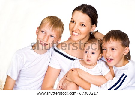 nice family of four on a white background