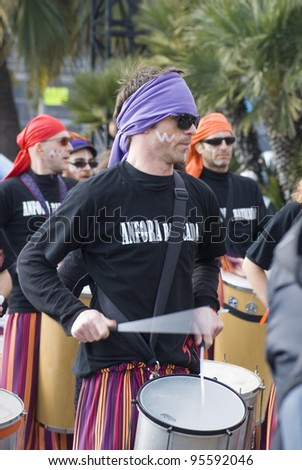 """NICE - FEBRUARY 19: Carnival of Nice on February 19, 2012 in French Riviera. This is the main winter event of the Riviera. 2012 topic is the """"King of Sport"""". A reference to the London Olympics. - stock photo"""