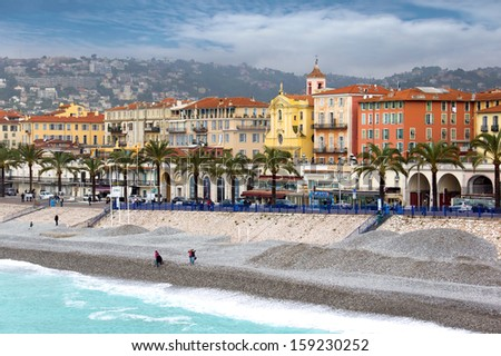 NICE, FRANCE - APRIL 27: Architecture along Promenade des Anglais on April 27, 2013 in Nice, France. It is a symbol of the Cote d'Azur and was built in 1830 at the expense of the British colony.  - stock photo